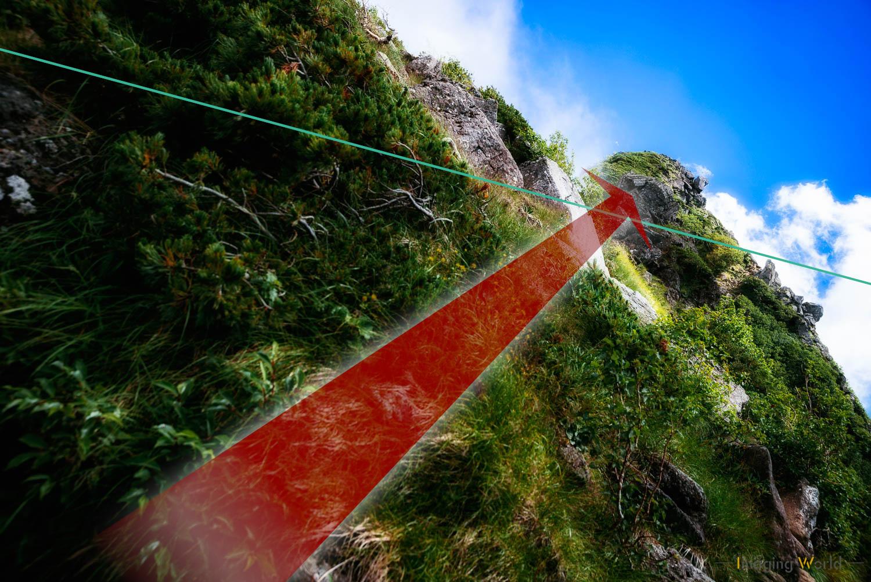 水平を崩すことで得られる対角線の効果