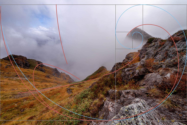 フィボナッチ螺旋と実際の意識の線